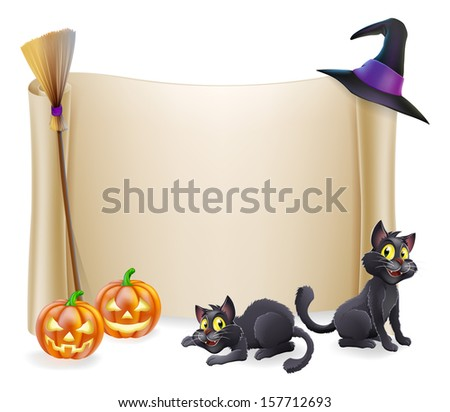 Halloween background scroll sign with witch hat, broomstick, carved orange pumpkins and witch's black cats  - stock photo