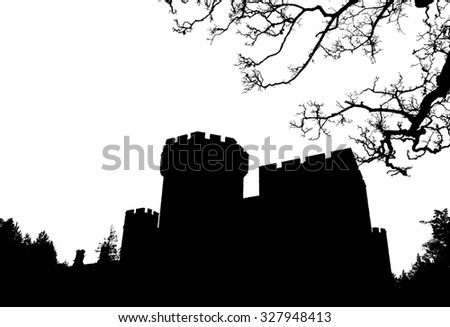 Halloween background, silhouette old Gothic castle with tree on white background - stock photo