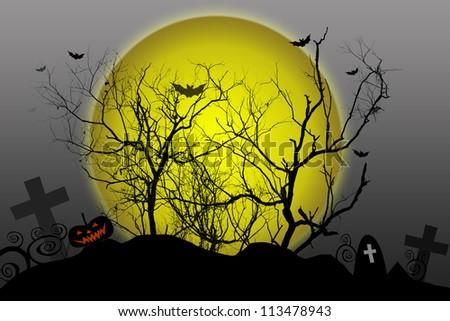 Halloween background silhouettes dead tree on moon - stock photo
