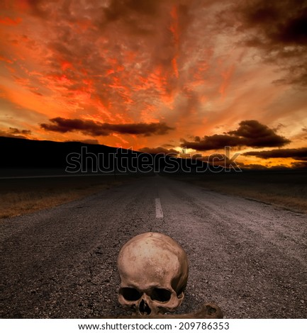 Halloween background - skull on the road and red sunset - stock photo