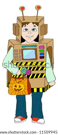 Halloween background with little Kid in robot costume,holiday illustration - stock photo