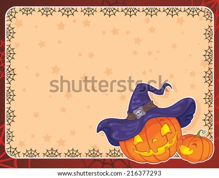 Halloween background with pumpkins. Greeting card with copy space. - stock photo