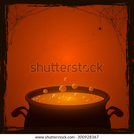 Halloween background with witches pot and orange potion, illustration. - stock photo