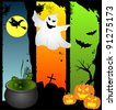 Halloween Banners with ghost, pumpkins and witch - stock photo