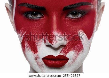 Halloween beauty makeup. Girl with red lips and blood on face - stock photo