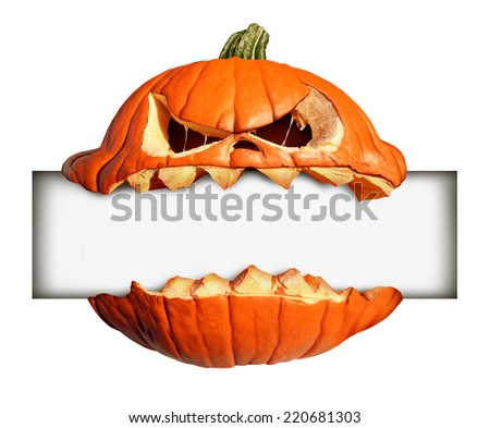 Halloween blank sign as a pumpkin character biting into a blank banner with jack o lantern teeth as an advertising and marketing message with a scary expression isolated on a white background. - stock photo