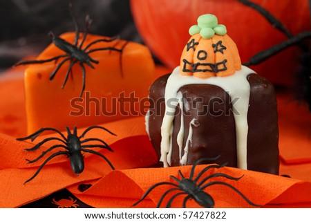 Halloween cakes and decoration - stock photo