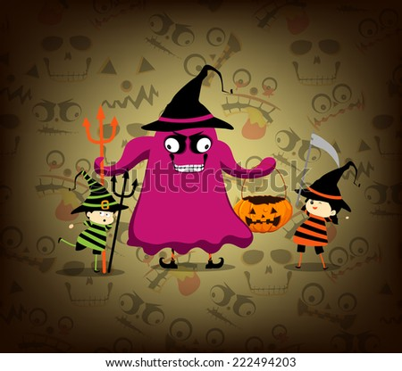 Halloween card with cartoon vampire and witch - stock photo