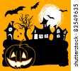 Halloween card with pumpkin lantern, bats, haunted houses and moon - stock photo