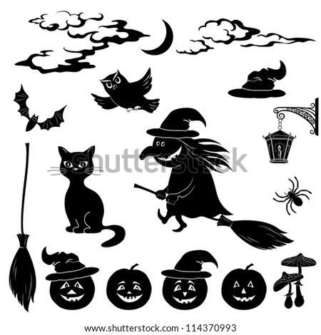 Halloween cartoon, set black silhouette on white background: witch and pumpkin in trolley, ghost, owl, bat, scarecrow, lantern, moon and clouds - stock photo