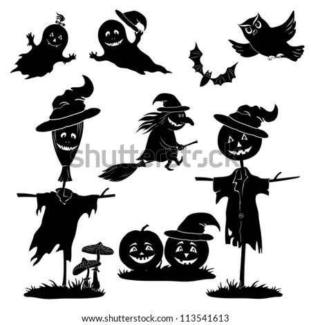 Halloween cartoon, set black silhouette on white background: witch flying on broom, pumpkins, ghost, owl, bat, scarecrow, agaric - stock photo