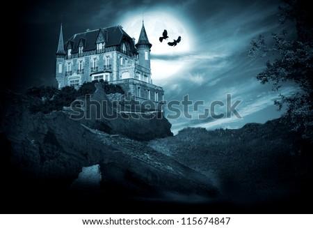 halloween castle with moon, night - stock photo