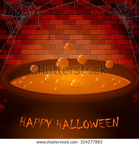 Halloween cauldron with potion and bubbles on a brick wall background, illustration. - stock photo