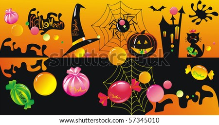 Halloween character set with sweets - stock photo
