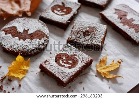 Halloween Chocolate Brownies - stock photo