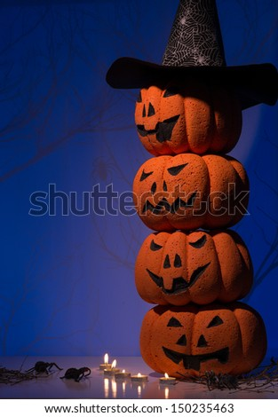 Halloween composition of stacking Jack O�¢??Lanters - stock photo