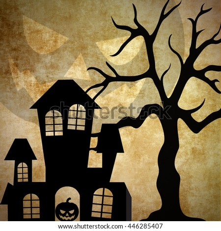 Halloween concept. Haunted house and tree in silhouette black on textured background. Square format - stock photo