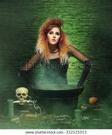 Halloween concept: witch conjuring in a dungeon over green background. - stock photo