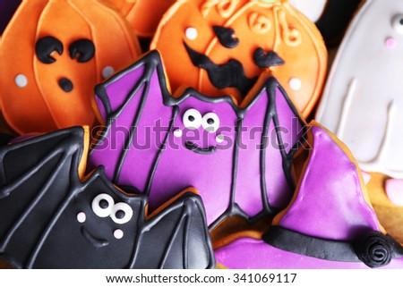 Halloween cookies, close up - stock photo