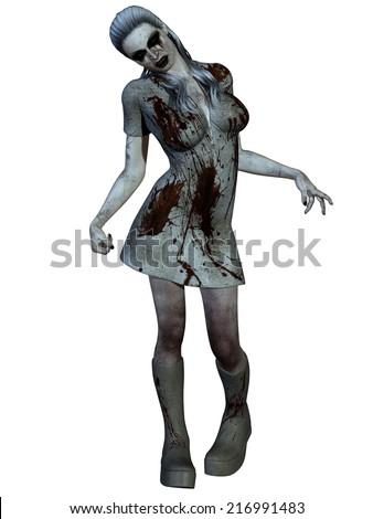 Halloween Creature - Bloody Nurse - stock photo