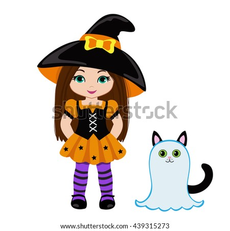 Halloween Cute Witch and a cute cat dressed as ghosts. Raster copy. - stock photo