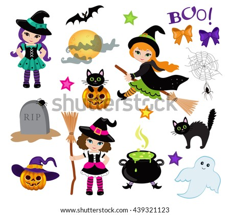 Halloween Cute Witches set. Raster copy. - stock photo