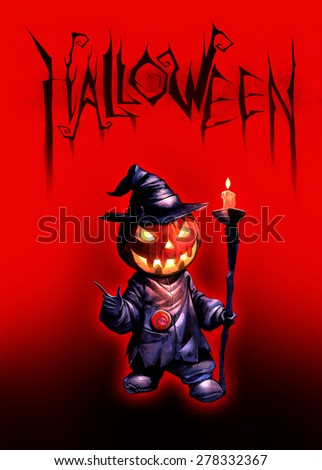 Halloween dark illustration with Jack O Lantern on the red background - stock photo