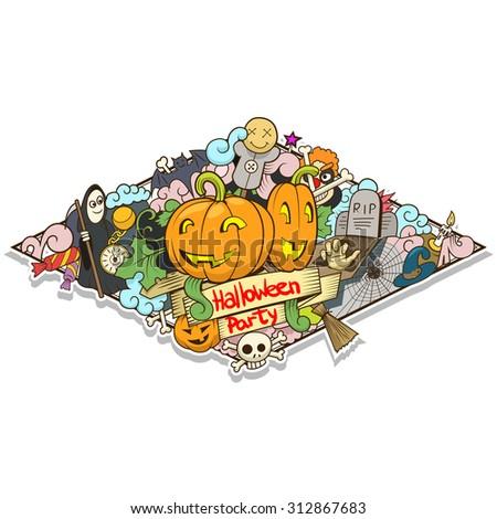 Halloween design raster version - stock photo