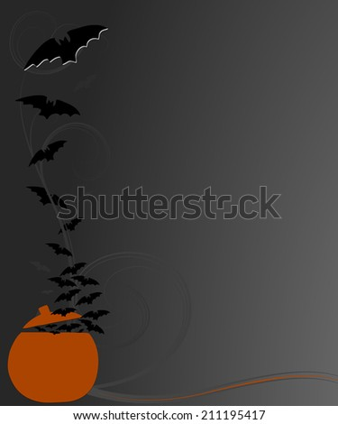 halloween design with flying bats and pumpkin - stock photo