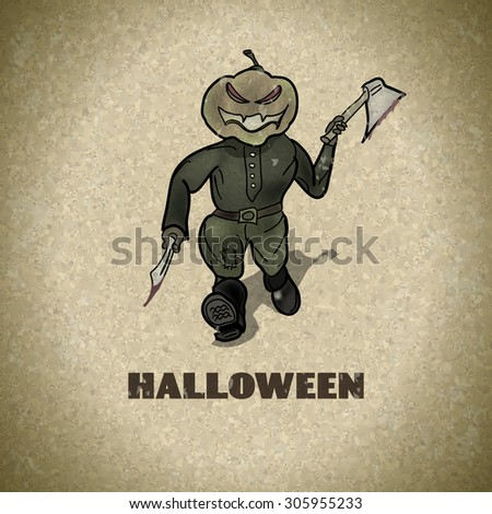 Halloween designs retro style background with with pumpkin killer - stock photo