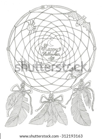 Halloween dream catcher coloring page - stock photo