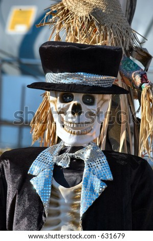Halloween Dressed skeleton - stock photo