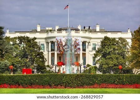 Halloween Fall Decorations Presidential White House Fountain Washington DC - stock photo