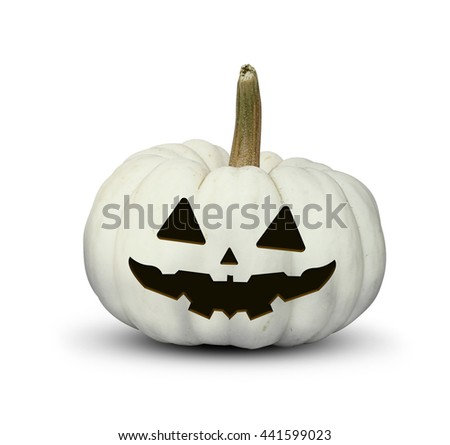 halloween festival, isolated carved evil white pumpkin. clipping path included  - stock photo