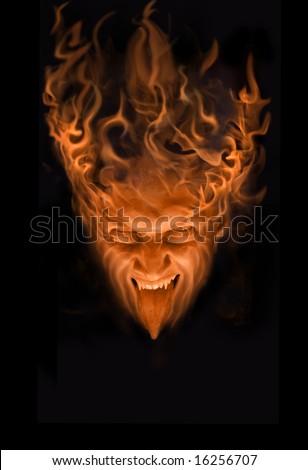 halloween fire face - stock photo