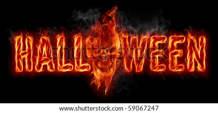 Halloween. Fire letters and burning skull. - stock photo