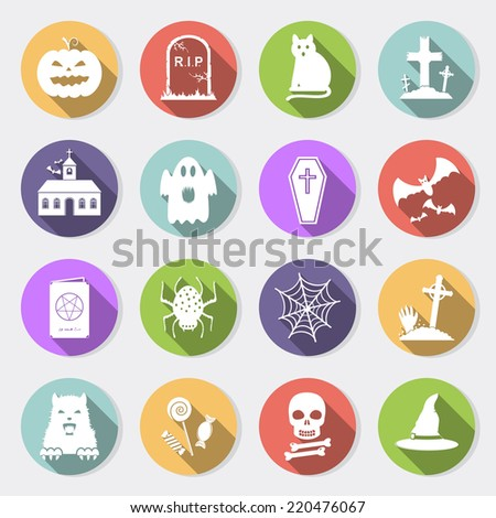 Halloween flat icons with long shadow - stock photo