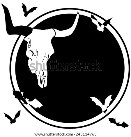 Halloween frame with bull skull and bats - stock photo