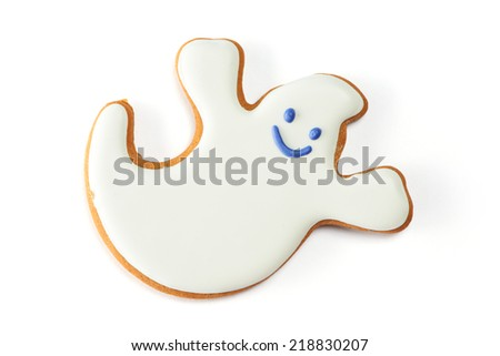Halloween gingerbread cookie isolated on white - stock photo