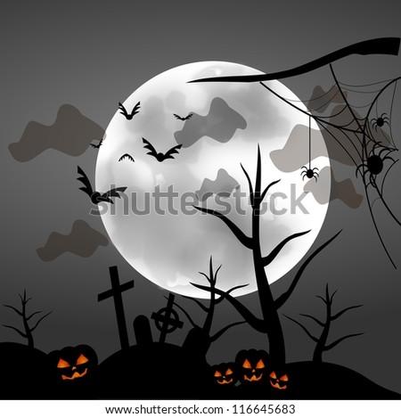 Halloween grim spooky illustration with moon cemetery - stock photo