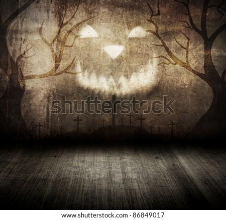 Halloween grungy room - stock photo
