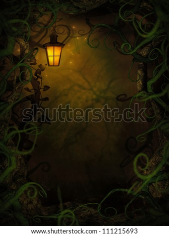 Halloween horror background with spooky vines. Green branches and lantern with copyspace. - stock photo
