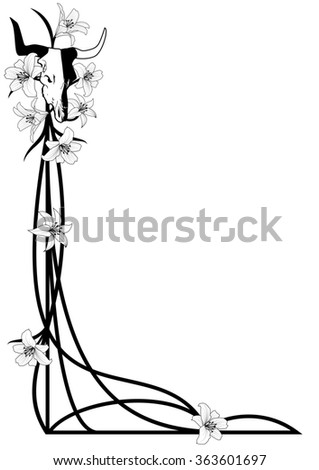 Halloween illustration for corner design with bull skull and lilies - stock photo