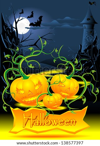 Halloween illustration with evil light pumpkins castle bats - stock photo