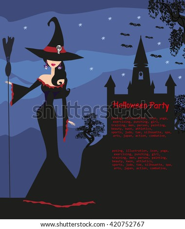 halloween invitation with beautiful witch  - stock photo