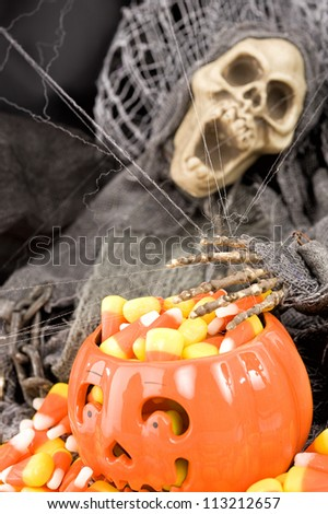 Halloween items in the studio setting - stock photo