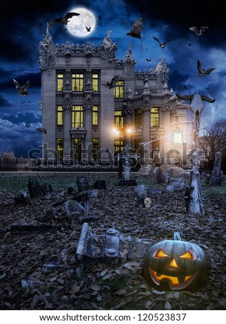 Halloween,  Jack o' lantern in a night cemetery - stock photo