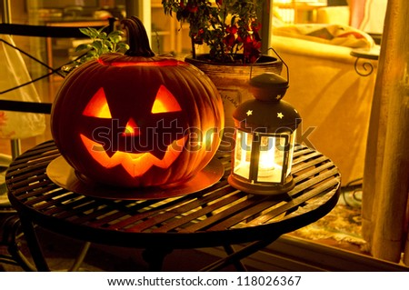 Halloween Jack O' Lantern pumpkin - stock photo