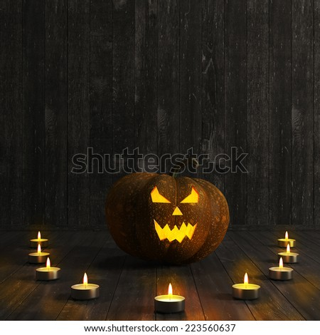 Halloween Jack-O-Lantern Pumpkin. High resolution. 3D render - stock photo