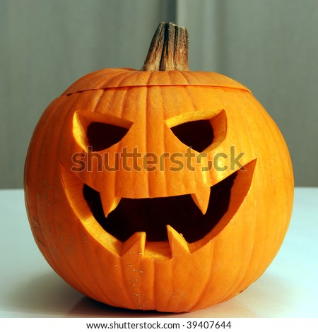 Halloween Jack-o'-Lantern smiling - stock photo